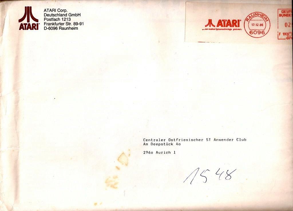 Infopost von Atari an unseren Club vom 17. Dezember 1986. (Bild: Torsten Othmer)