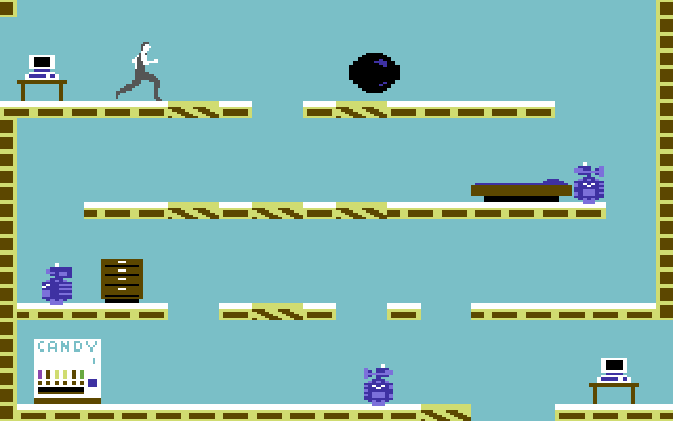 """Mit einem Salto über die Roboter. Oft eine """"Mission Impossible."""" (Bild: Epyx, 1984)"""
