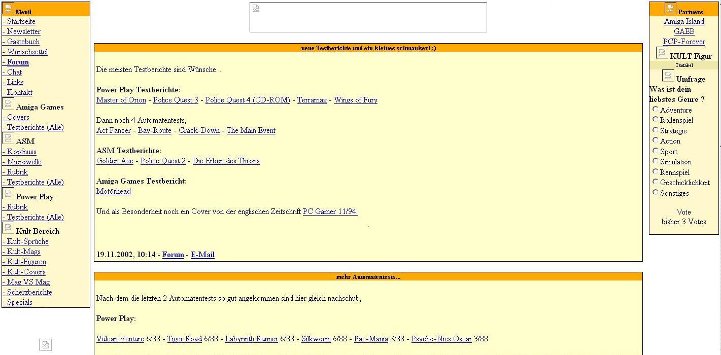 Der Internetauftritt von Kultboy.com Ende 2002. Noch immer relativ wenige Inhalte und man konnte noch keine Kommentare zu den Scans schreiben. (Bild: Michael Schmitzer)