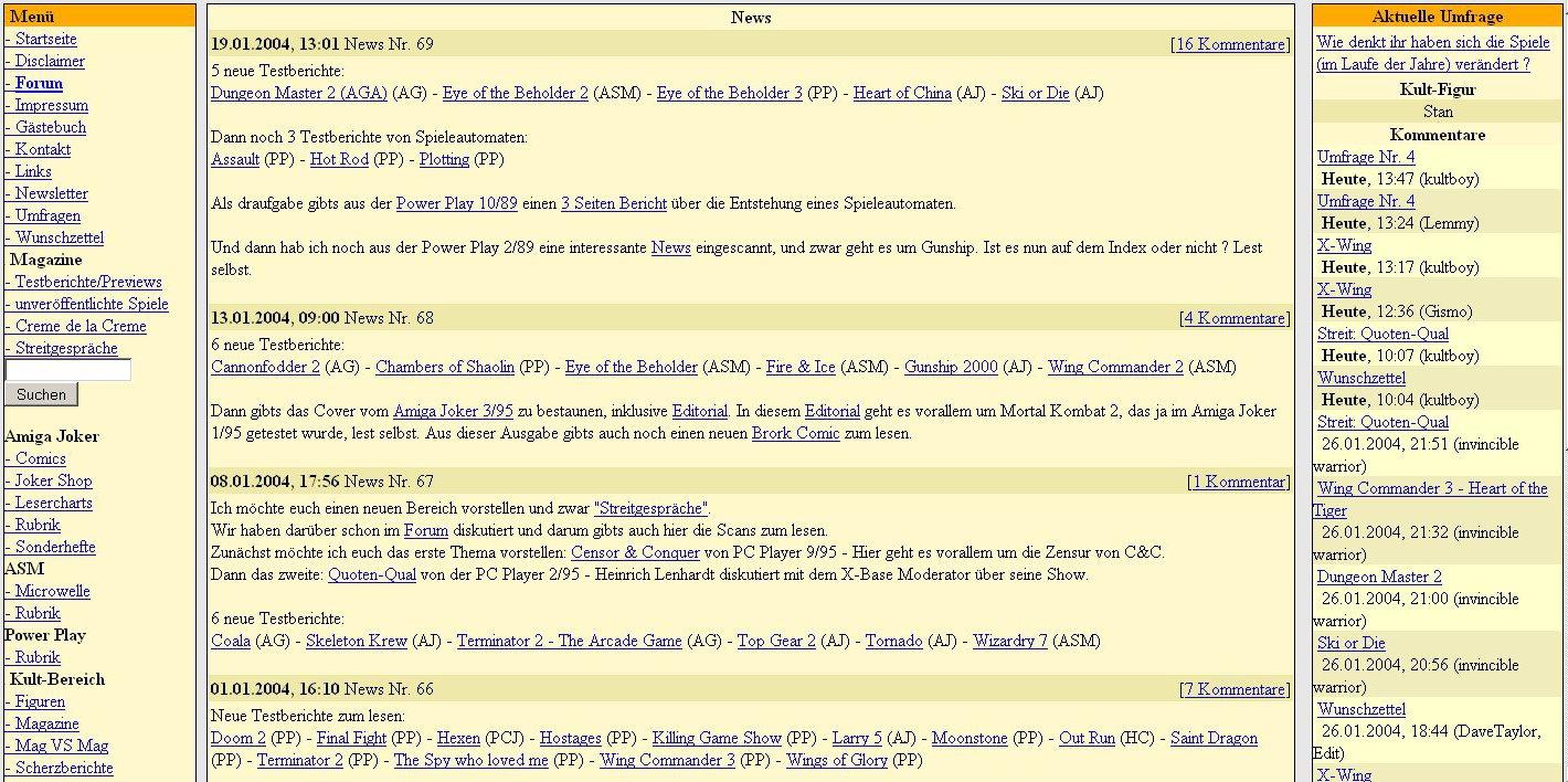 Kultboy.com 2003: Die Struktur wurde erweitert und rechts sind schon Kommentare zu sehen. (Bild: Michael Schmitzer)