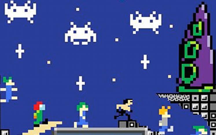 Eine Montage verschiedener 8-Bit Spieleklassiker wie Lemmings, Bruce Lee oder Space Invaders für das Cover des Kultboy-Hefts Januar 2010. (Bild: Herr Planetfall)