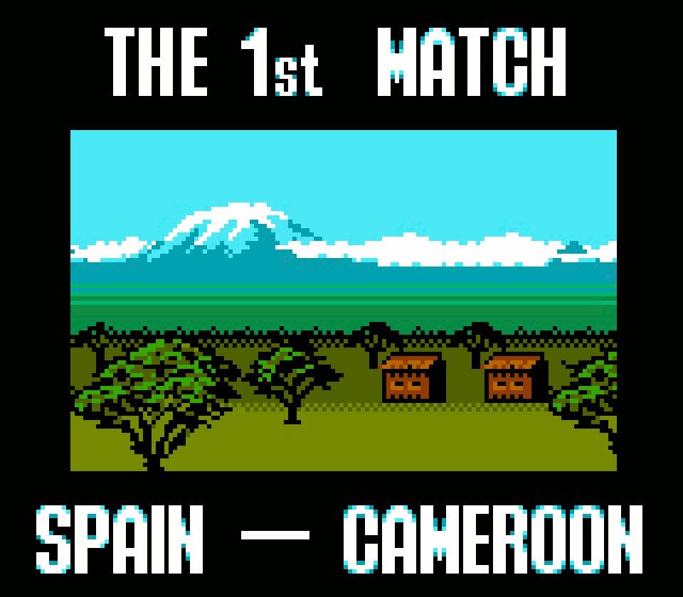 Vor jedem Spiel wird das Gastgeberland mit einem kleinen, malerischen Bild angekündigt. Das erste Match gegen Kamerun ist ein sicherer Sieg und ein zweistelliges Ergebnis gehört zum guten Ton. Auf dem Gameboy übertrafen wir uns in übertrieben hohen Torschüssen und mehr als 60 Tore gegen Kamerun waren keine Seltenheit. (Bild: Boris Kretzinger)