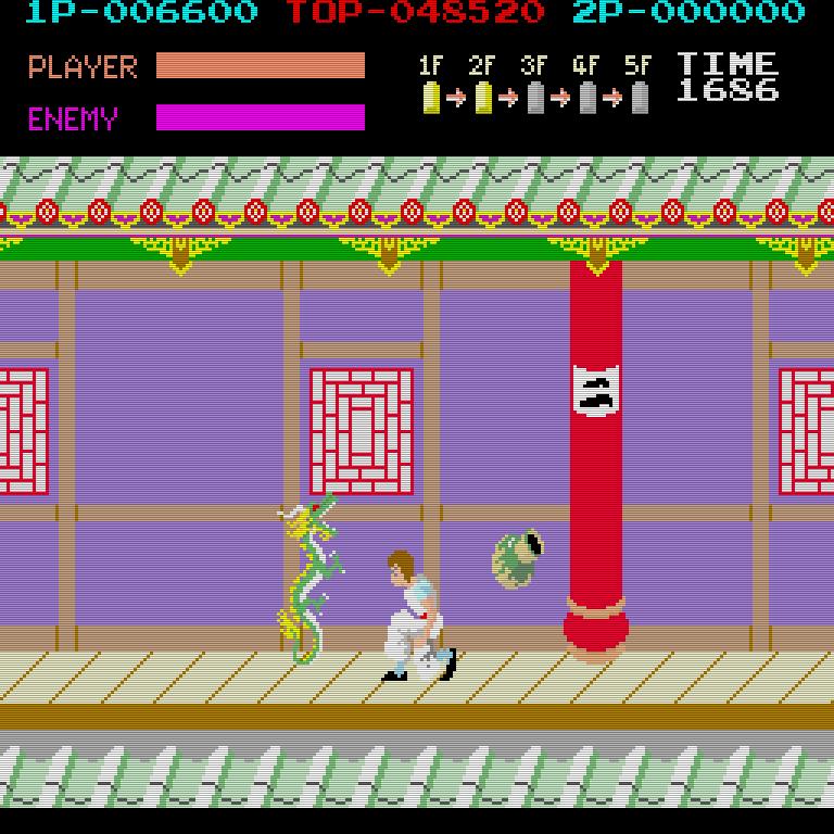 Irems Videospiel basiert auf dem Bruce-Lee-Film Game of Death, in dem Lee in einer Pagode gegen die größten Kämpfer der Welt antreten muss. (Bild: Irem)
