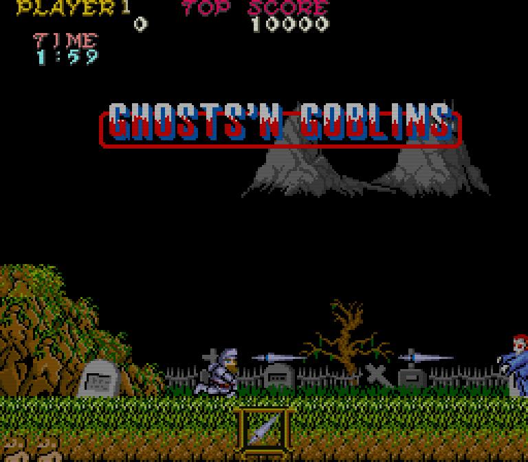 Auf dem Friedhof wird Ritter Arthur von Zombies attakiert. Als Verteidigung dienen ihm Lanzen, die er werfen kann. (Bild: Capcom)
