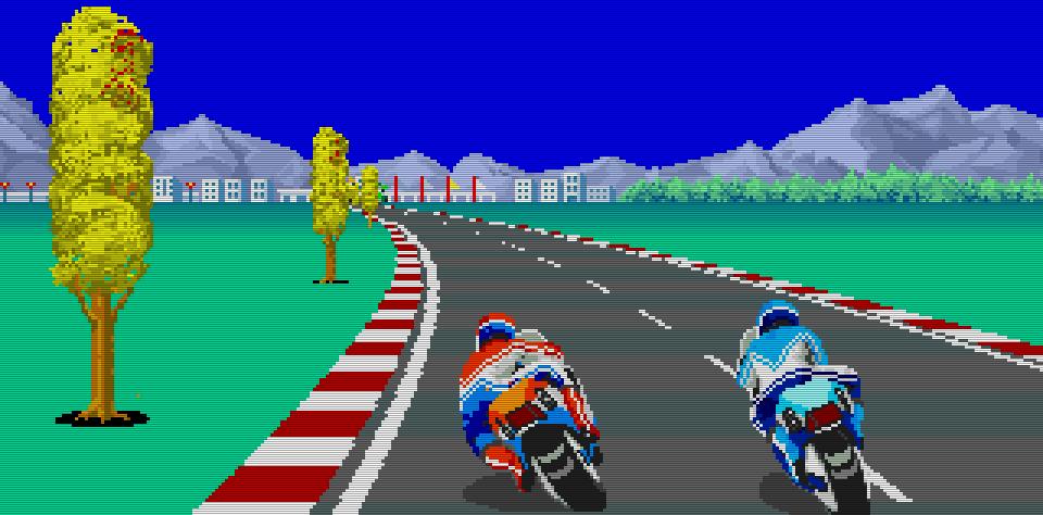 Kampf um den ersten Platz: mit Vollgas rasen die Kontrahenten bei Hang-On über den heißen Asphalt. (Bild: Sega)