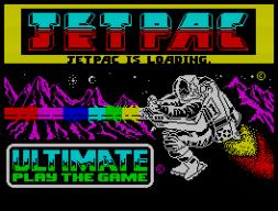 Das Ladebild von Jetpac (1983). Frühe Lektion damals: war der Tonkopf nicht richtig justiert, erkannte man während des Ladens anhand von Fehlern im Ladebild, dass man neu laden durfte ... (Bild: Ultimate)