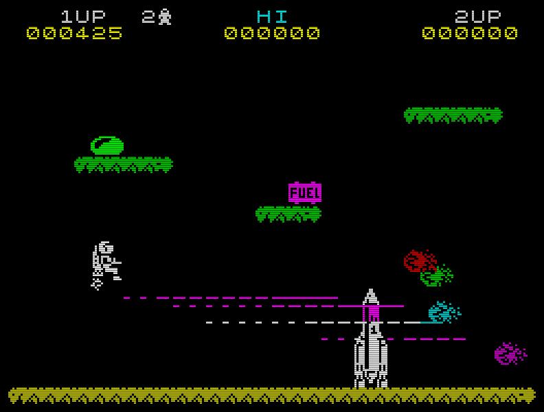 Ziel des Spieles ist es, eine Rakete zusammenzubauen und sie zu betanken, um in den nächsten Level zu gelangen. Toll fand ich seinerzeit den Laser und die leichte Trägheit des Jetman. (Bild: Ultimate)