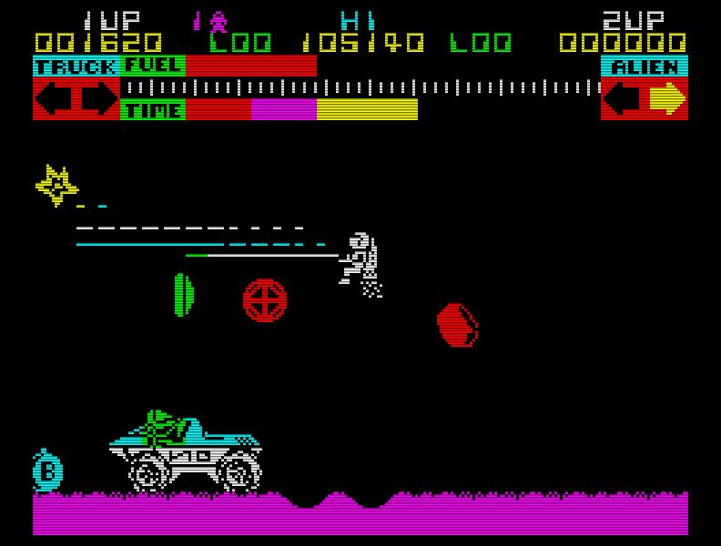 Lunar Jetman (1983), der scrollende Nachfolger von Jetpac. Mit leicht Defender-angehauchtem Gameplay, höllisch schwer und wie so viele alte Spiele einfach nicht zu schaffen ... denn es gibt leider kein Ende. (Bild: Ultimate)
