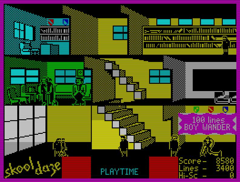 Ein anderes Juwel aus den frühen Tagen ist Skool Daze (1984), das mit einem witzigen Spielablauf glänzte. Aufgrund der relativen Handlungsfreiheit (innerhalb des Schulgebäudes) ist es ein sehr frühes Quasi-Sandbox-Game. (Bild: Microsphere)