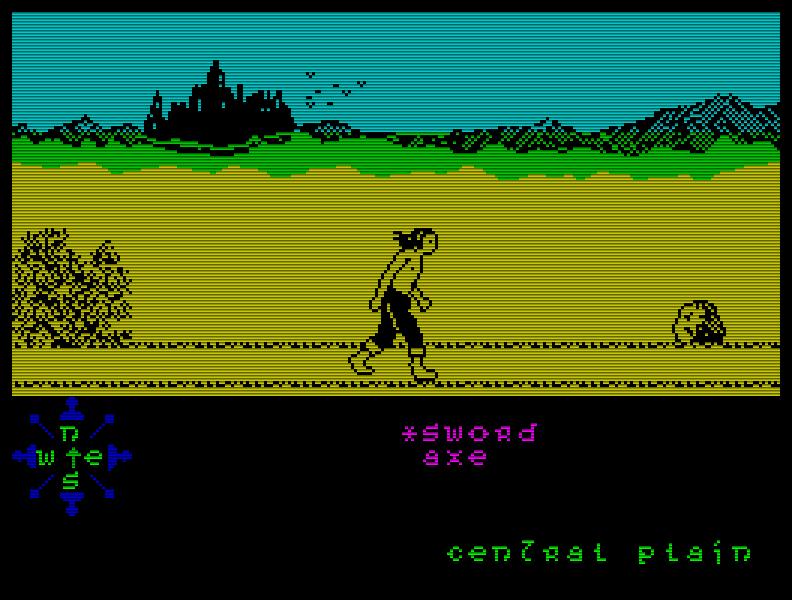 Tir Na Nog (1984), ein Adventure, welches für sein Erscheinungsjahr schon sehr ordentlich aussah. Als ich es ein paar Jahre später spielte, kam ich aber dank der knackigen Rätsel erstmal nicht weit ... (Bild: Gargoyle Games)