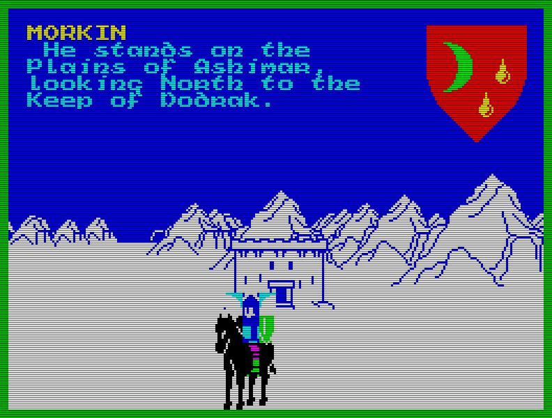 Das Tolkien-inspirierte Strategie-Adventure The Lords of Midnight (1984) begeisterte die Presse nicht zuletzt durch das innovative Landscaping-Verfahren, mit dem die Grafik aufgebaut wurde. (Bild: Beyond Software)