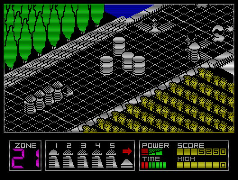 Spiele in der Iso-Perspektive gab es für den Speccy ja nicht wenige. Highway Encounter (1985) hob sich von den meisten Iso-Games schon dadurch ab, dass es mal nicht in einem Labyrinth spielte ... (Bild: Vortex)