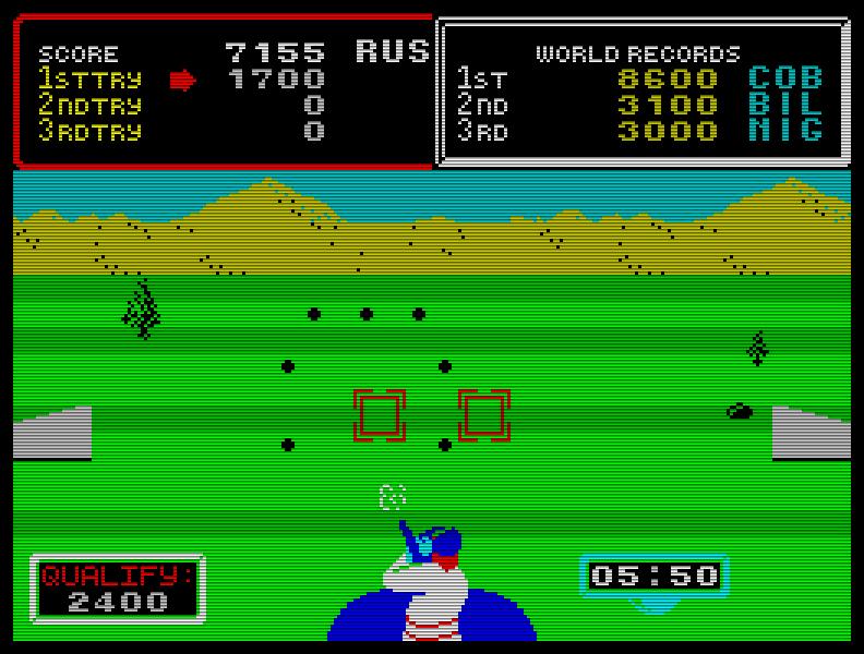 Als Referenz in Sachen Multi-Event-Sportspiele für den Speccy gilt die gut spielbare Arcade-Umsetzung von Hyper Sports (1985), verbrochen vom sehr fähigen Jonathan Smith. (Bild: Konami)