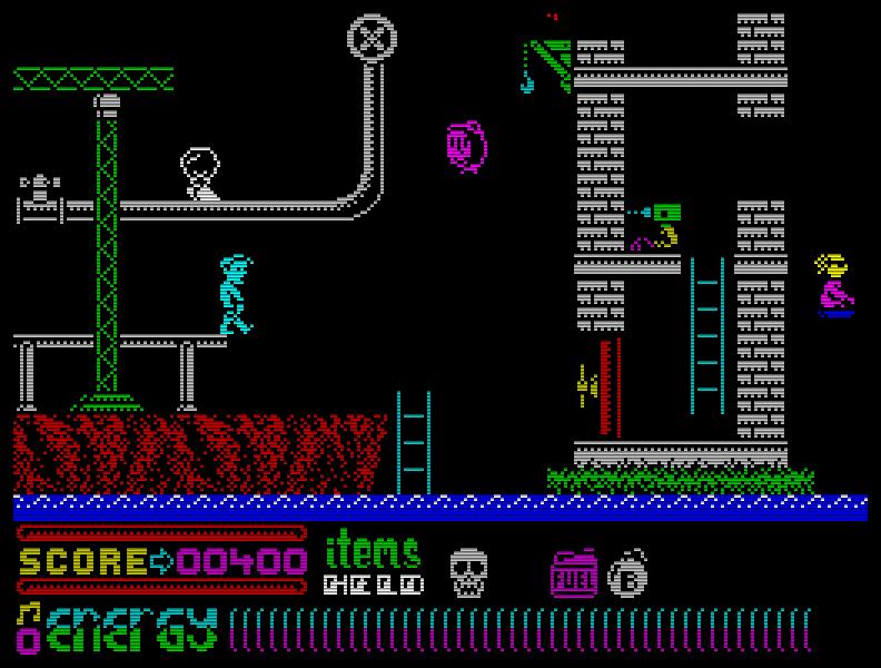 Ein grafisch ebenfalls recht netter Vertreter der Gattung Jump n Run ist das außerhalb Englands wohl nicht sehr bekannte Dynamite Dan 2 (1986). Fies: man hat nur ein Leben. (Bild: Mirrorsoft)
