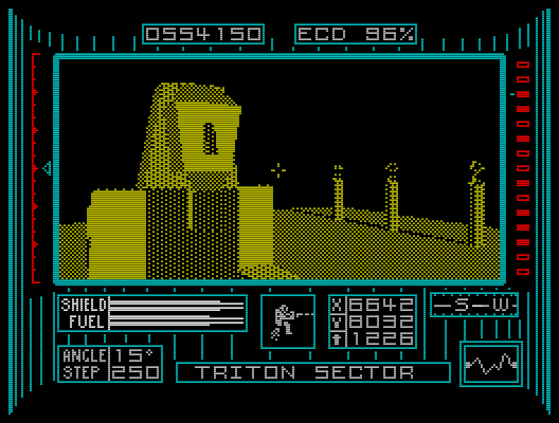 Einige Monate nach Driller erschien Dark Side (1988), das mich genau so in seinen Bann zog wie sein Vorgänger. Die nach heutigen Maßstäben extreme Langsamkeit der Freescape-3D-Grafik störte mich damals kaum. (Bild: Incentive)