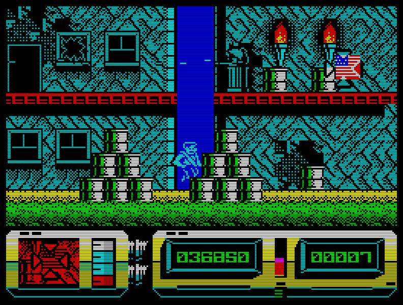 Action Force 2 (1988), von den Machern von Dan Dare. Hier steuert man nicht etwa die Figur, sondern gibt ihr (per Fadenkreuz) Feuerschutz. Schade, dass es das nicht als 2 Spieler-Modus gab ... (Bild: Virgin)
