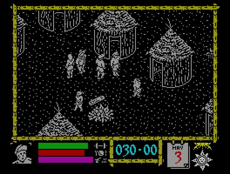 Das Iso-Adventure Where Time Stood Still (1988) von Denton Designs lief nur mit 128k. Die Flucht aus einem von Dinosauriern bevölkerten Talkessel war sehr (an)spannend. (Bild: Ocean)