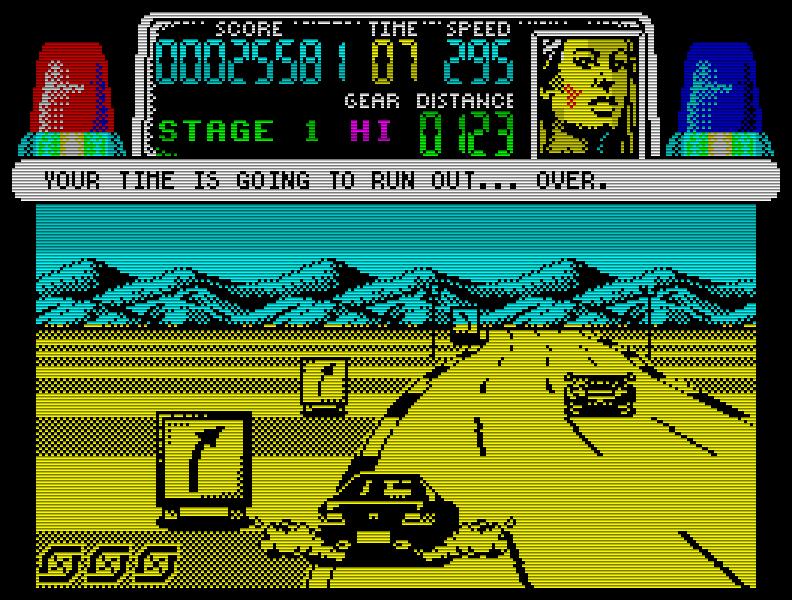 Chase H.Q. (1989) zählt zu Recht zu den besten Automatenumsetzungen für den Speccy, vor allem, wenn man die famose 128k-Version spielt. (Bild: Taito)