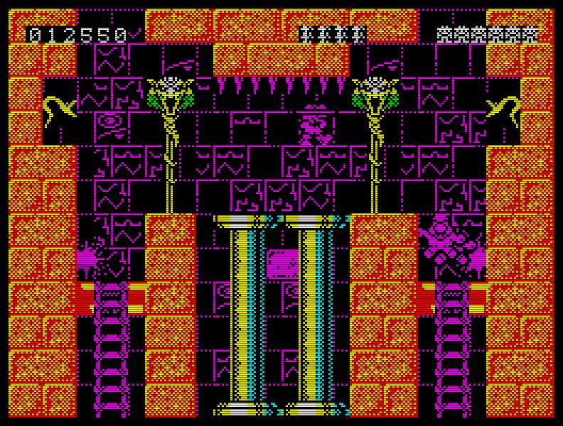 Die Farbwahl ist bei Rick Dangerous (1989) stellenweise zwar fragwürdig, doch spielerisch steht das Spiel auf dem Speccy den anderen Versionen um nichts nach. (Bild: Rainbird)