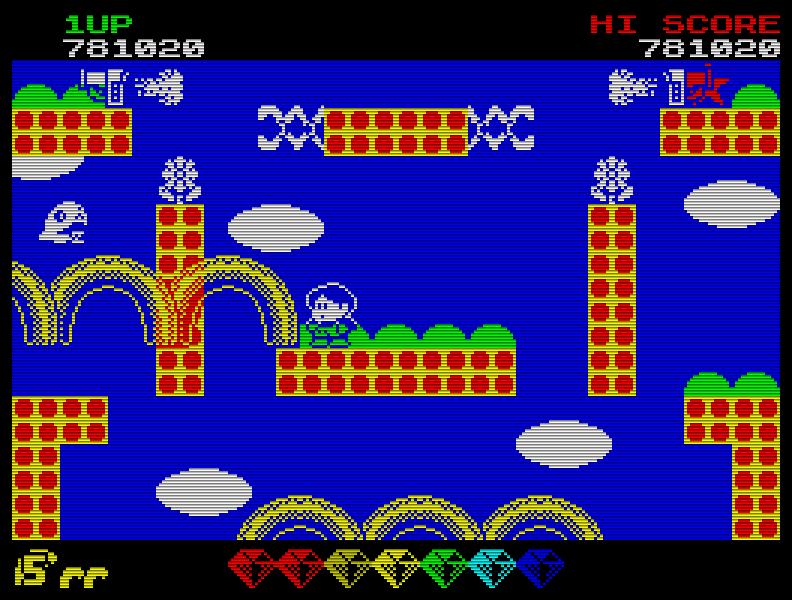 Spielerisch war die Umsetzung von Rainbow Islands (1990) durchaus gelungen - auf einen farbigen Regenbogen musste man allerdings verzichten ... (Bild: Taito)