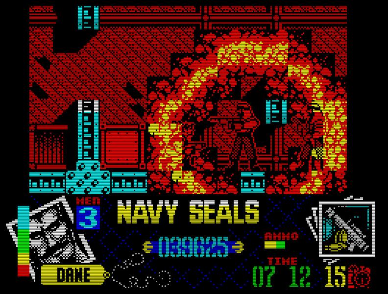Navy SEALS (1991), ein 128k-only-Spiel, glänzte mit großen, toll animierten Sprites. Leider auch mit einem wirklich höllischen Schwierigkeitsgrad. (Bild: Ocean)