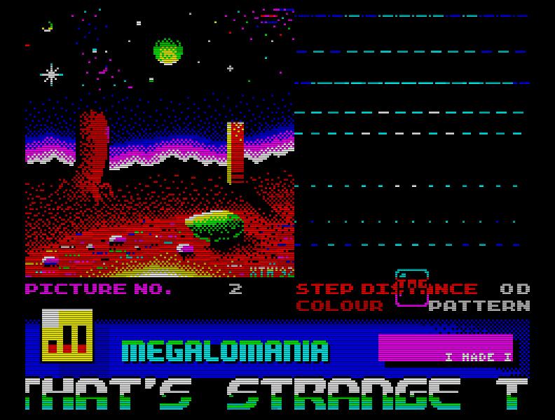 Meine letzte Demo auf dem Speccy, Megalomania (1994). Und meine erste, die auch wirklich komplett in Assembler geschrieben worden war ... (Bild: Dirk Mayer)