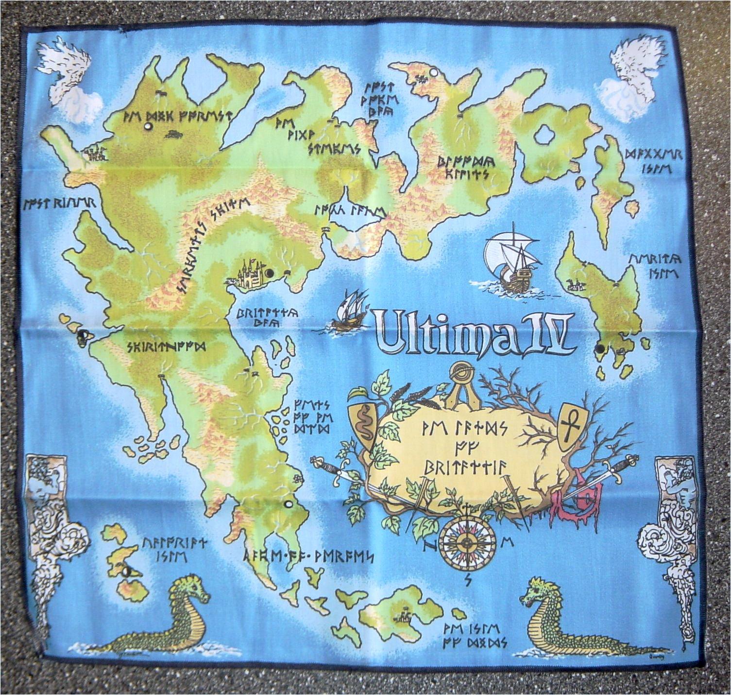 Die Stoffkarte zum Spiel Ultima IV. Vom Bildschirm auf den Boden des Kinderzimmers. (Bild: Guido Frank)