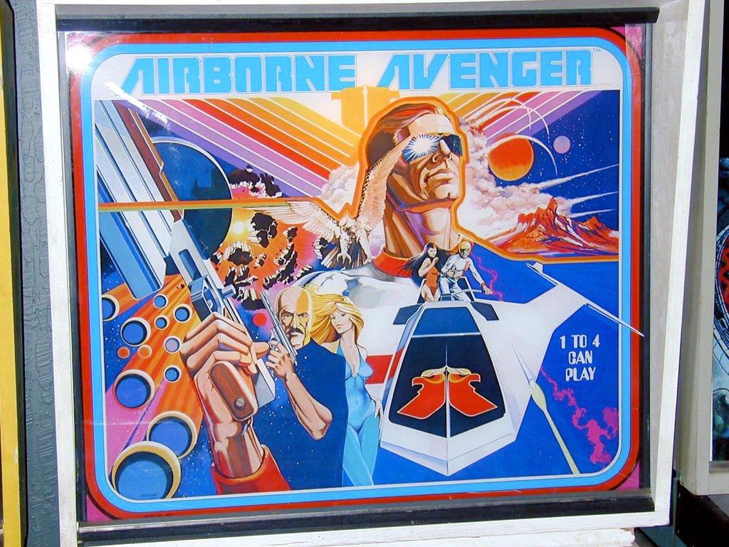 Artwork eines Airborne Avenger-Flippers. Es geht darum Spannung und Abenteuer zu transportieren. (Illustration: George Opperman, 1977)