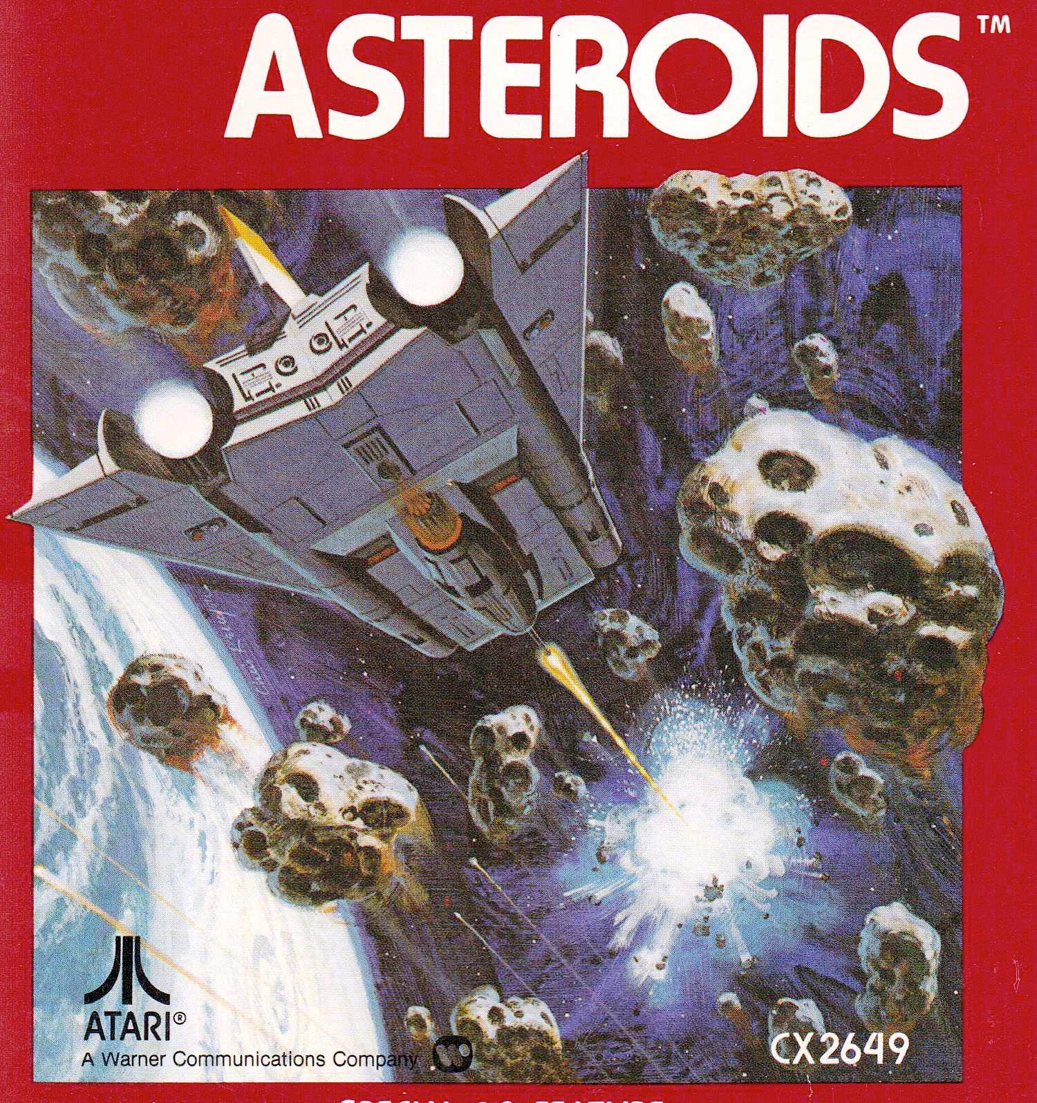 Artwork zu Asteroids für die VCS-Konsole von 1977. Endlich kommt Farbe in den tristen Weltraum (Bild: Atari)