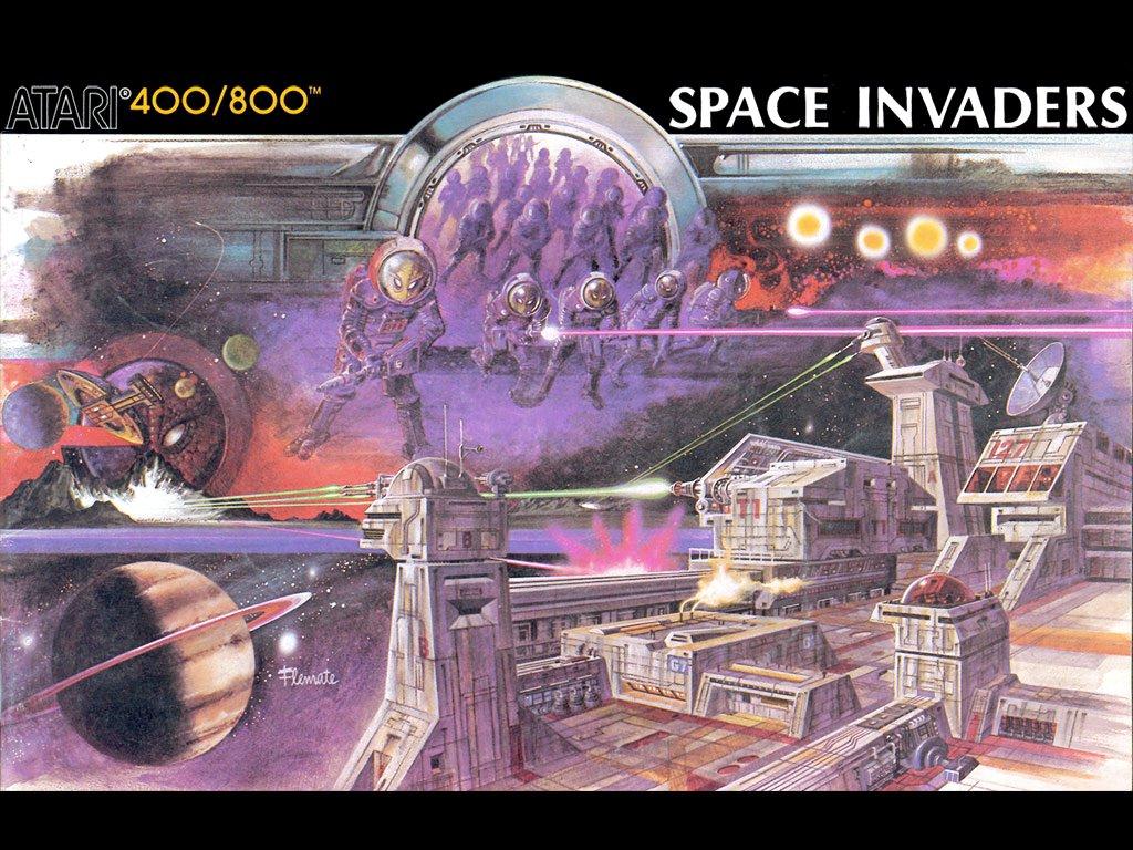 Das Space Invaders Artwork für Atari 400/800. Sehen so die Raumstationen der Zukunft aus? (Bild: Atari)