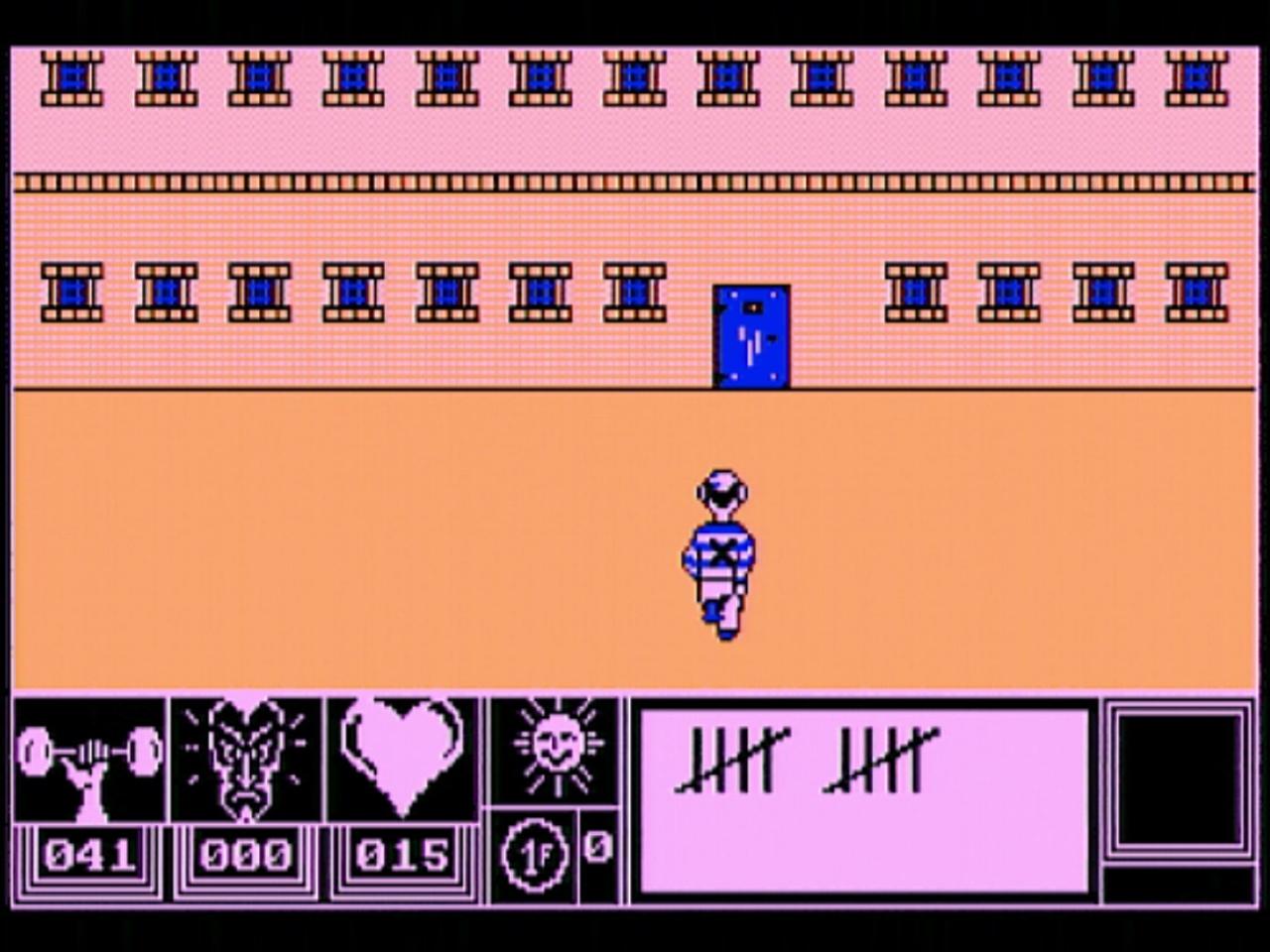 Doomsday Blues - ERE Informatique/PSS Software 1985. Unter Zeitdruck aus dem verhassten Gefängnis auszubrechen, gestaltet sich anhand der wenigen Attributspunkte als äußerst schwierig. System ist gefragt! (Bild: André Körnig - CPC 464 capture)