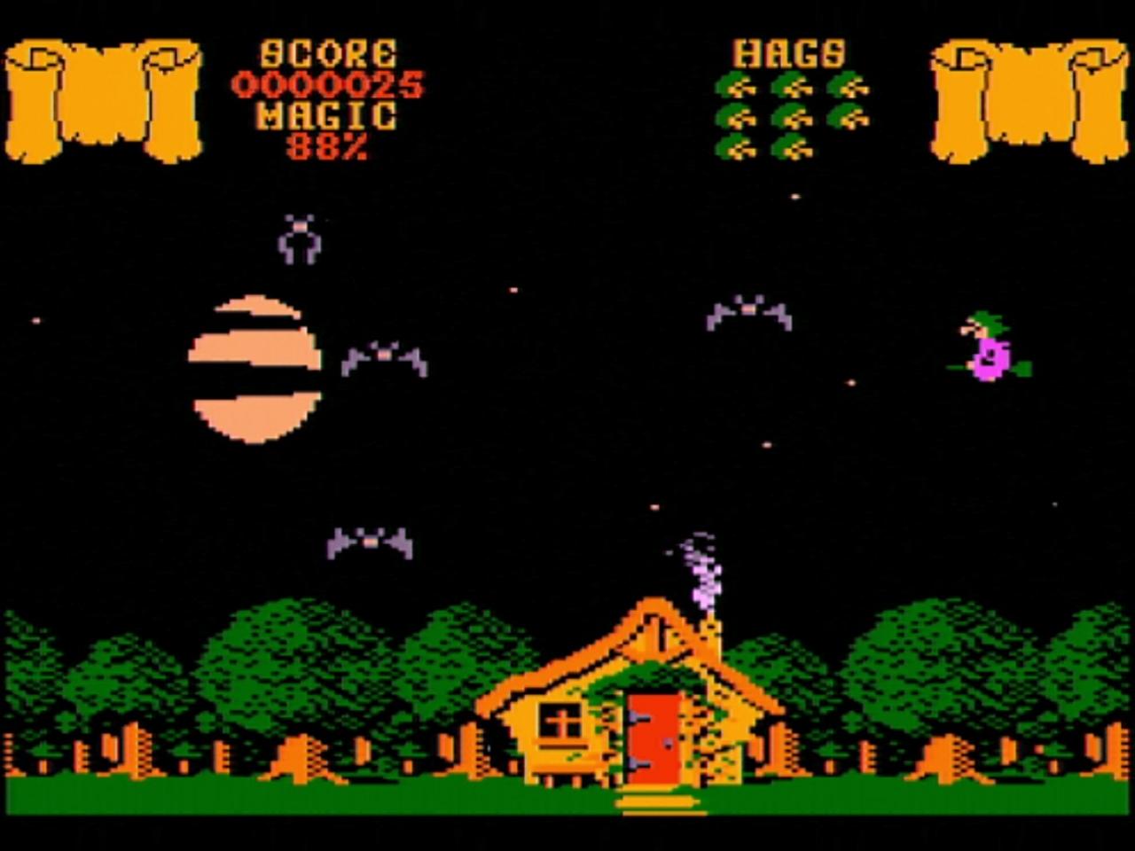 Cauldron - Palace Software/Silverbird 1985. Mit dem Besen durch den Wald gebrettert und auf der Suche nach den begehrten Zutaten, was sich als sehr schwierig gestaltet. (Bild: André Körnig - CPC 464 capture)