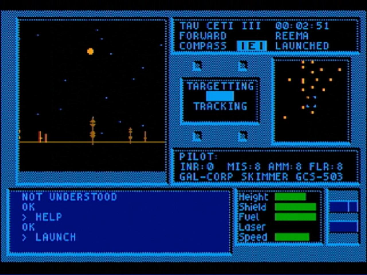 """Tau Ceti - CRL Group PLC 1986. Und ich düse, düse, düse, düse im... Unterwegs auf der Planetenoberfläche von """"Tau Ceti III"""". Es macht sich verdächtige Stille breit. (Bild: André Körnig - CPC 464 capture)"""