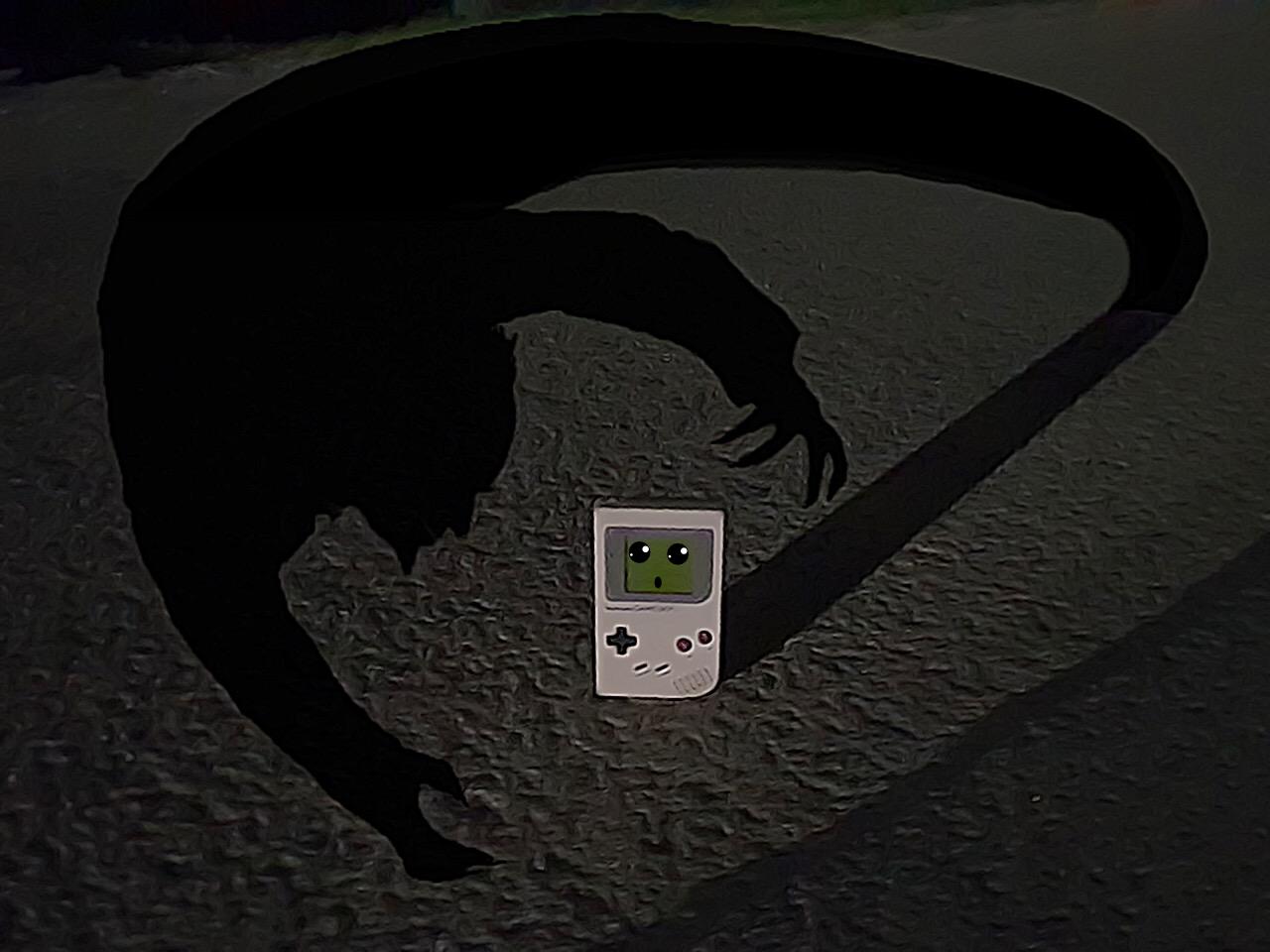 Game Boy am Friedhof bei Nacht, von Dämonen verfolgt. (Bild: Leopold Brodecky)