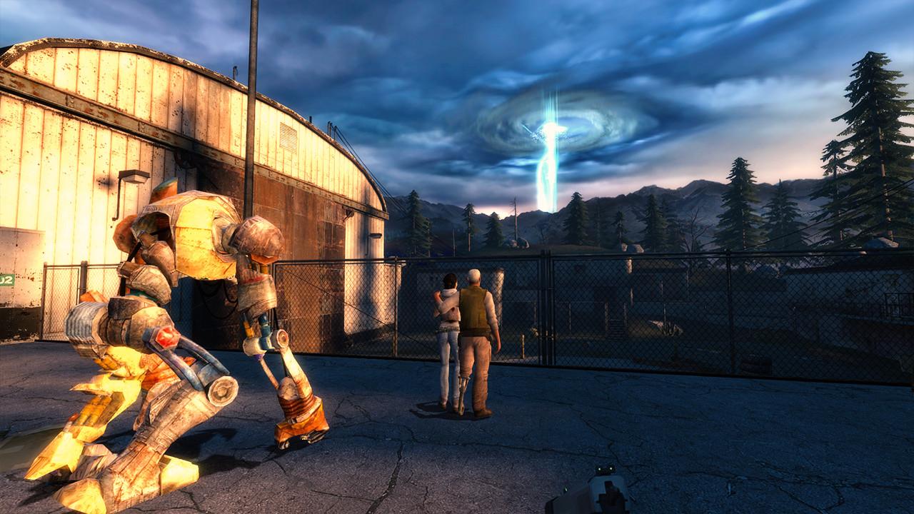 Alyx, Eli und D0g beobachten das Megaportal. (Bild: Robert Reiche)