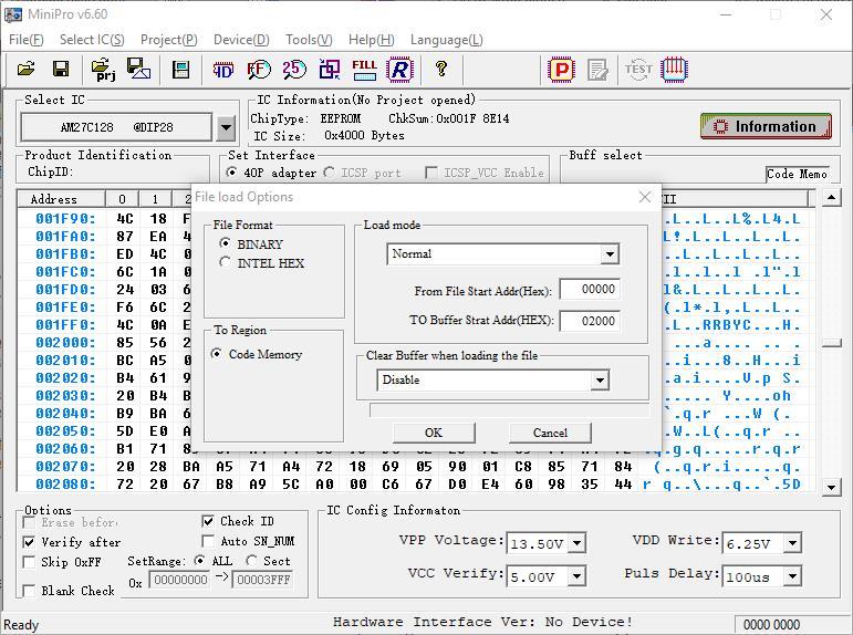 MiniPro ROM Kopie laden ab 2000h. (Bild: Thilo Niewöhner)