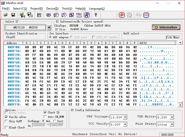 MiniPro ROM geladen Puffer gefüllt bis 3FF0h. (Bild: Thilo Niewöhner)