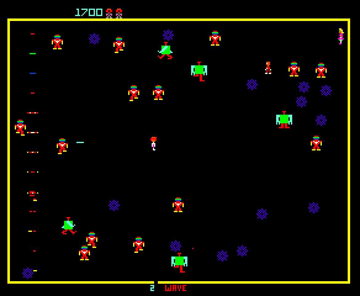 Bei Robotron: 2084 muß sich der Spieler gegen Unmengen von Robotern verteidigen. Der Entwickler des Spiels (Eugene Jarvis) hatte sich übrigend zuvor bereits mit