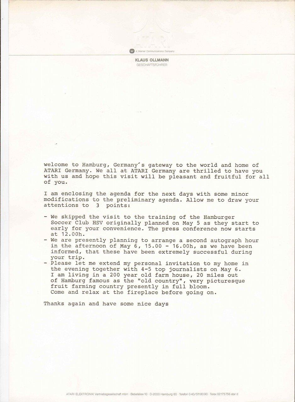 Einleitungsschreiben von Klaus Ollmann für den Besuch von Pelé im Mai 1981. (Bild: Klaus Ollmann)