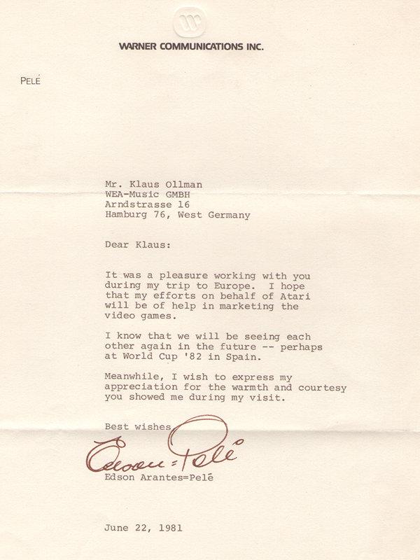 Sein Brief zum Dank an Herrn Ollmann zeigt, dass Pelé nicht nur ein begnadeter Fußballspieler ist, sondern auch eine große Persönlichkeit. (Bild: Klaus Ollmann)