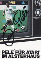 Autogrammkarte mit der Unterschrift von Pelé. (Bild: Atari)