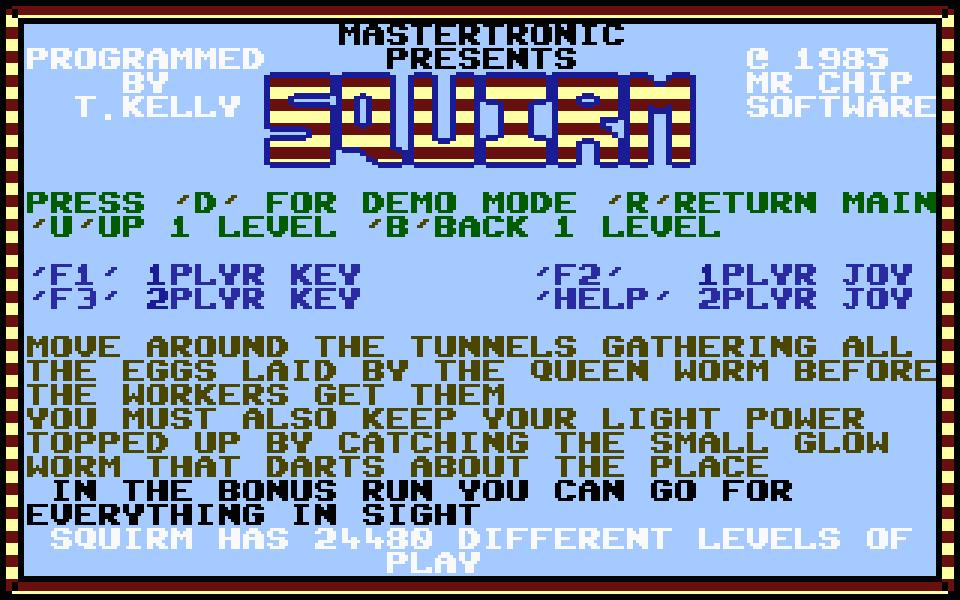 Der Startbildschirm von Squirm. (Bild: Mastertronic)