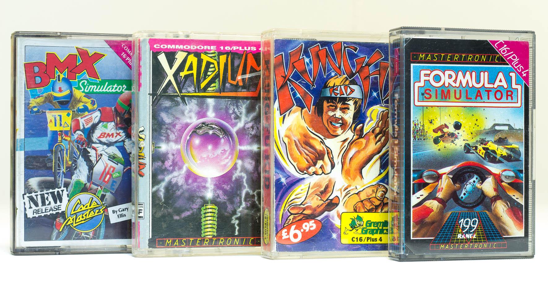 C16 Spielkassetten: BMX Simulator, Xadium, Kung Fu und Formula 1 Simulator. (Bild: Claudio Lione)