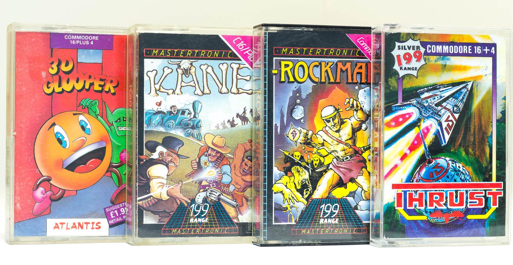 C16 Spielkassetten: 3D Glooper, Kane, Rockman und Thrust. (Bild: Claudio Lione)