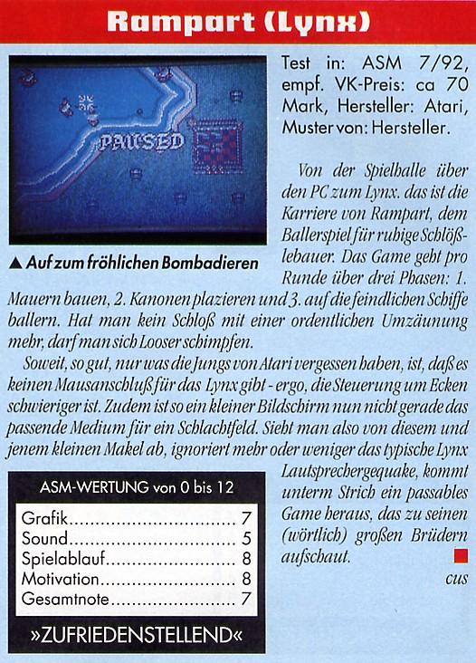 ASM Test zum Spiel Rampart 1992. (Bild: Tronic Verlag, ASM)