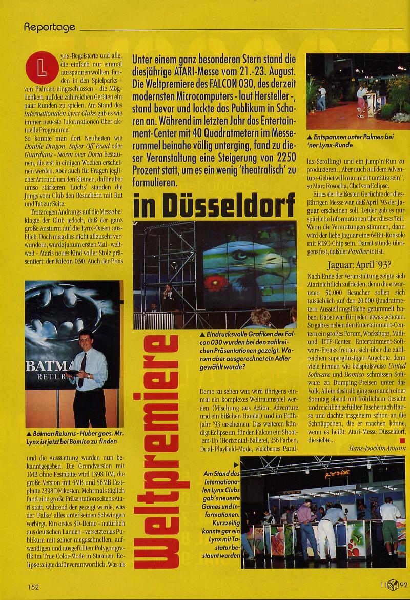 ASM Reportage zur Atari-Messe 1992. (Bild: Tronic Verlag, ASM)