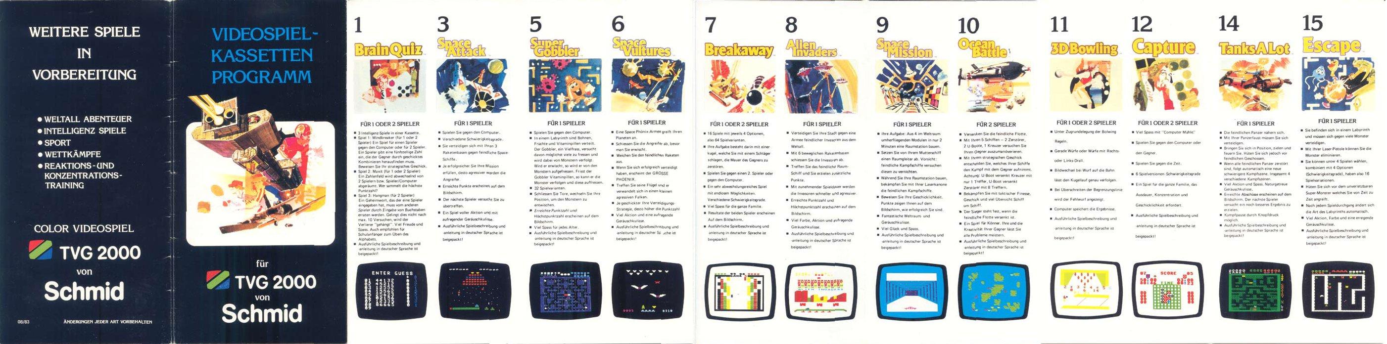 Videospiel Kassetten Programm für das Schmid TVG 2000, August 1983, Teil 1. (Bild: Schmid)