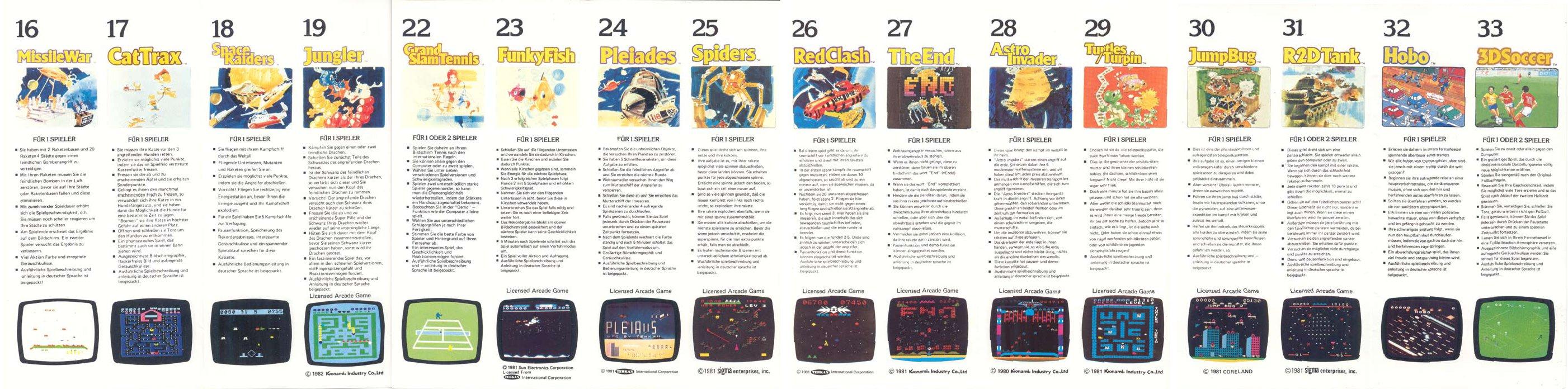 Videospiel Kassetten Programm für das Schmid TVG 2000, August 1983, Teil 2. (Bild: Schmid)