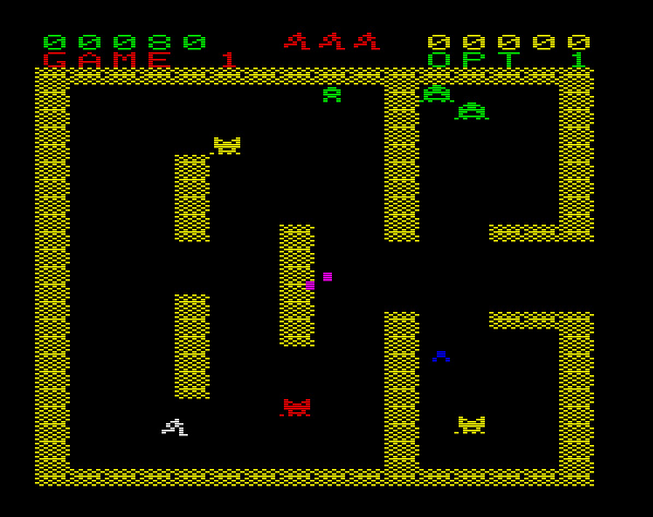 Escape verspricht eine erregende Geräuschkulisse. Als Vorbild für dieses Spiel kann Berzerk genannt werden. (Bild: Schmid)