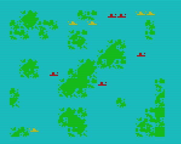 Digitales Schiffe versenken: das für 2-Spieler gemachte Ocean Battle hatte zum Ziel, die gegnerische Flotte zu vernichten. (Bild: Schmid)